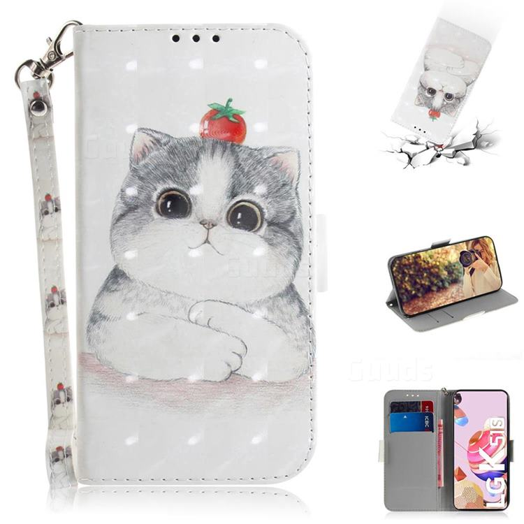 Cute Tomato Cat 3D Painted Leather Wallet Phone Case for LG K41S