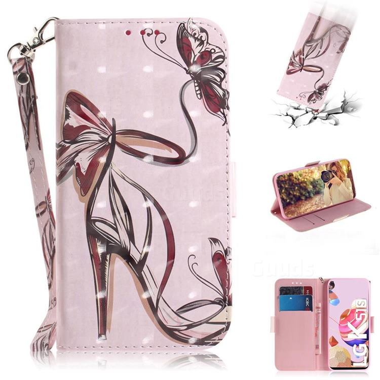 Butterfly High Heels 3D Painted Leather Wallet Phone Case for LG K41S