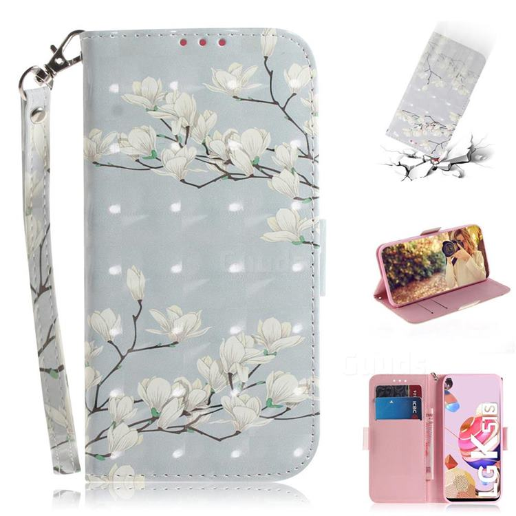 Magnolia Flower 3D Painted Leather Wallet Phone Case for LG K41S