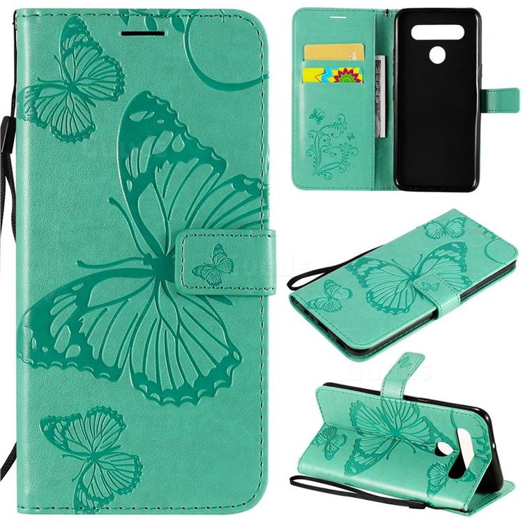 Embossing 3D Butterfly Leather Wallet Case for LG K41S - Green