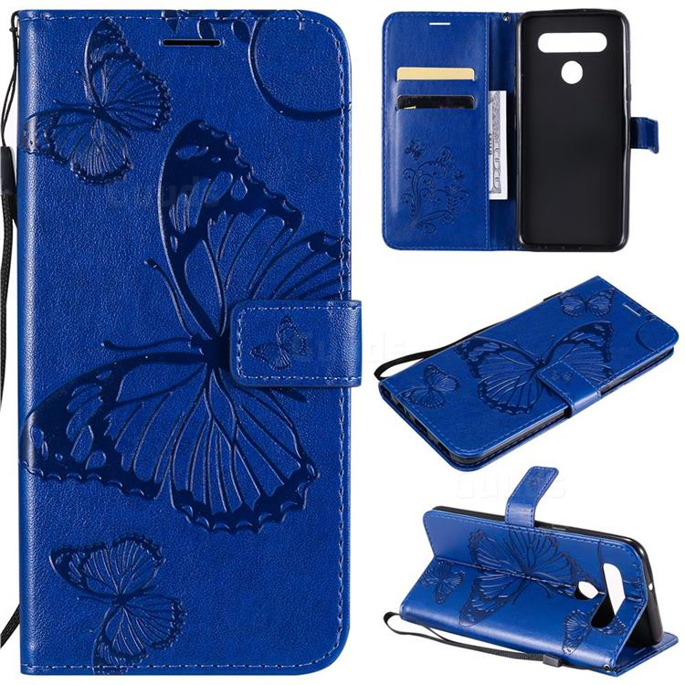 Embossing 3D Butterfly Leather Wallet Case for LG K41S - Blue