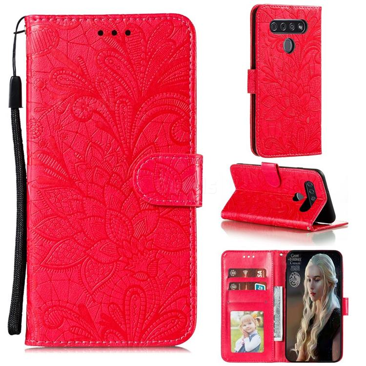 Intricate Embossing Lace Jasmine Flower Leather Wallet Case for LG K41S - Red