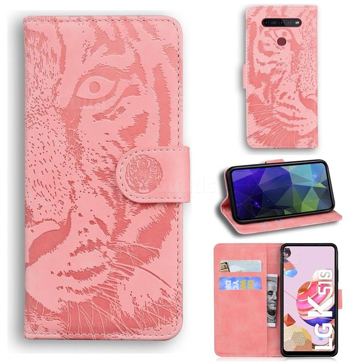 Intricate Embossing Tiger Face Leather Wallet Case for LG K41S - Pink