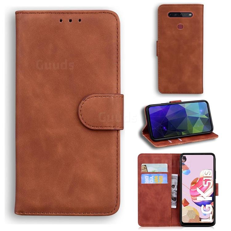 Retro Classic Skin Feel Leather Wallet Phone Case for LG K41S - Brown