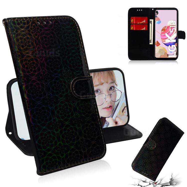 Laser Circle Shining Leather Wallet Phone Case for LG K41S - Black