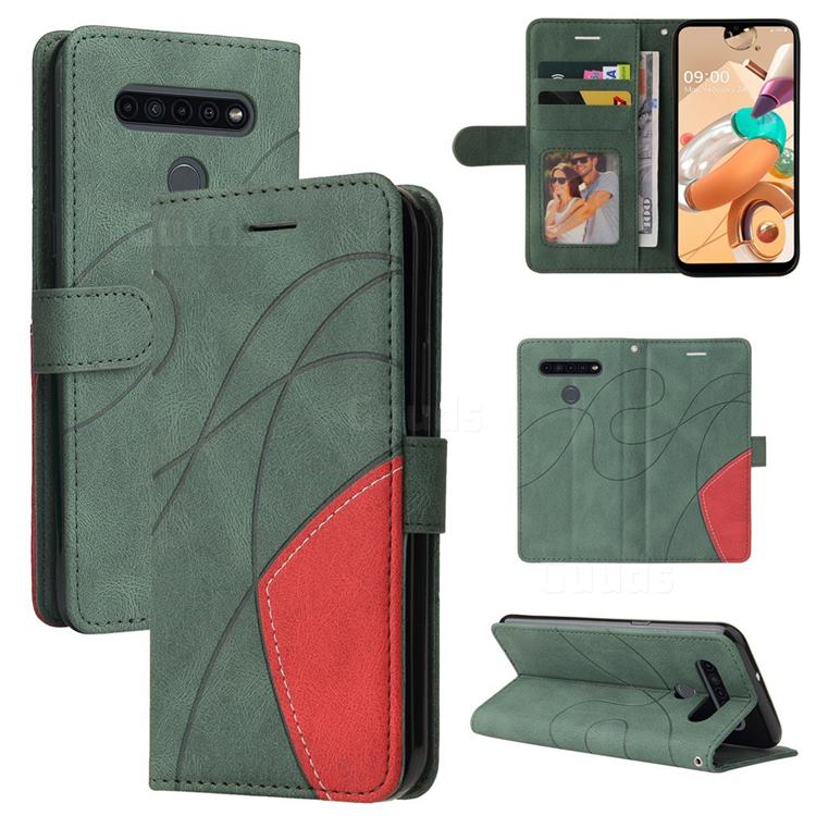 Luxury Two-color Stitching Leather Wallet Case Cover for LG K41S - Green