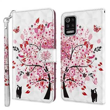 Tree and Cat 3D Painted Leather Wallet Case for LG K42 K52 Q52