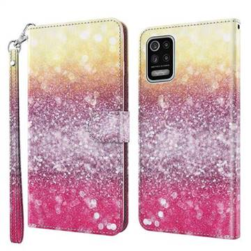 Gradient Rainbow 3D Painted Leather Wallet Case for LG K42 K52 Q52