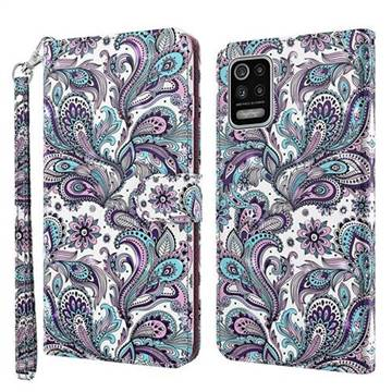Swirl Flower 3D Painted Leather Wallet Case for LG K42 K52 Q52