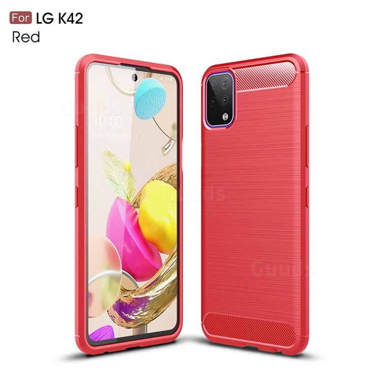 Luxury Carbon Fiber Brushed Wire Drawing Silicone TPU Back Cover for LG K42 - Red