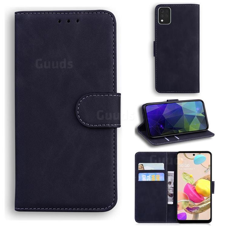 Retro Classic Skin Feel Leather Wallet Phone Case for LG K42 - Black