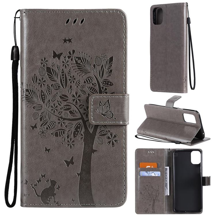 Embossing Butterfly Tree Leather Wallet Case for LG K42 - Grey