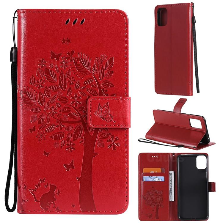 Embossing Butterfly Tree Leather Wallet Case for LG K42 - Red