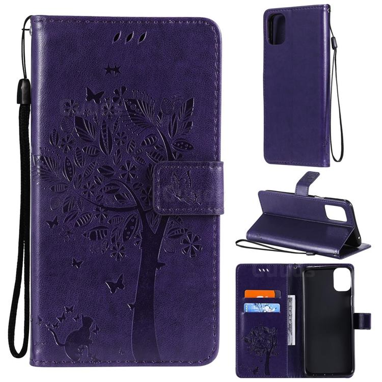 Embossing Butterfly Tree Leather Wallet Case for LG K42 - Purple