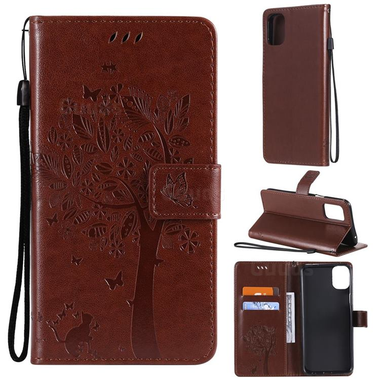 Embossing Butterfly Tree Leather Wallet Case for LG K42 - Coffee