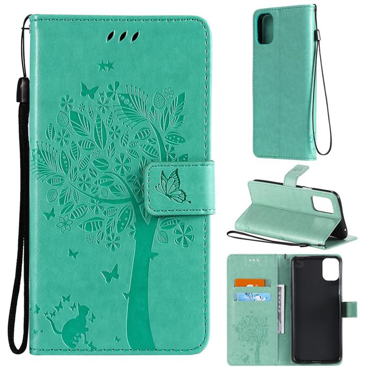 Embossing Butterfly Tree Leather Wallet Case for LG K42 - Cyan