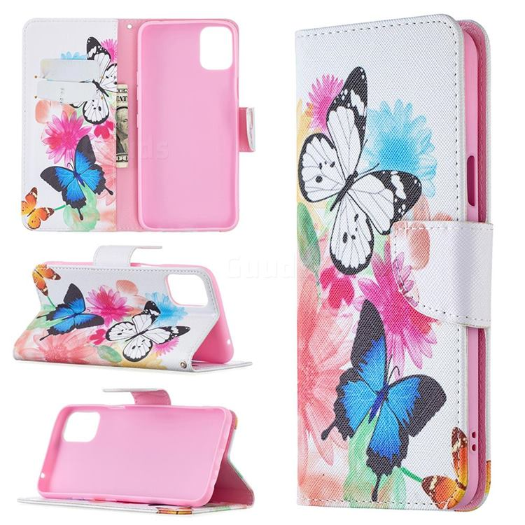 Vivid Flying Butterflies Leather Wallet Case for LG K42