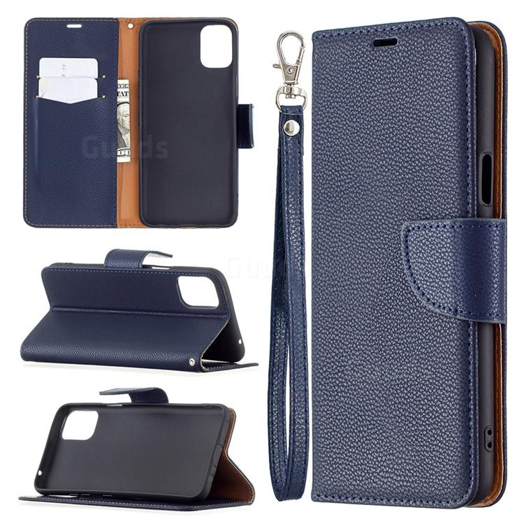 Classic Luxury Litchi Leather Phone Wallet Case for LG K42 - Blue