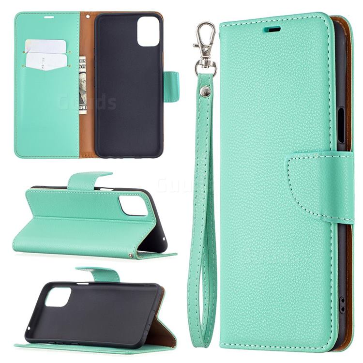 Classic Luxury Litchi Leather Phone Wallet Case for LG K42 - Green
