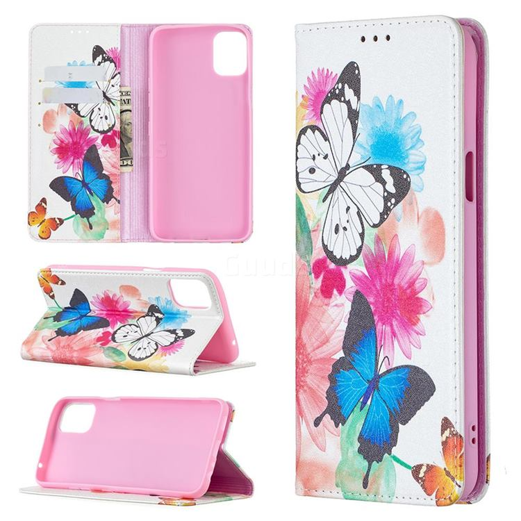Flying Butterflies Slim Magnetic Attraction Wallet Flip Cover for LG K42