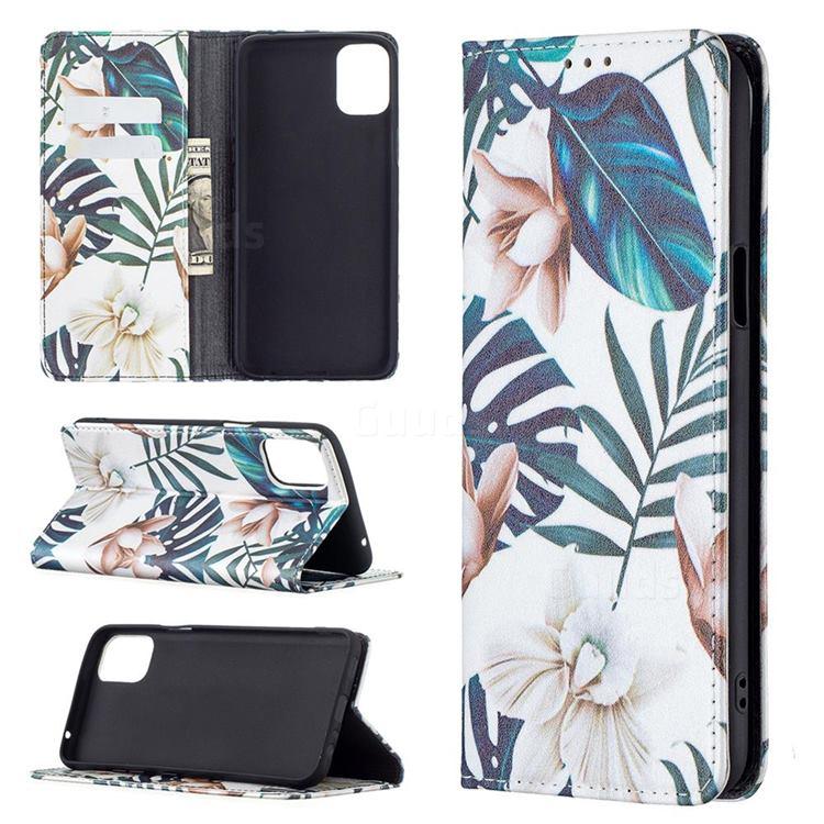 Flower Leaf Slim Magnetic Attraction Wallet Flip Cover for LG K42