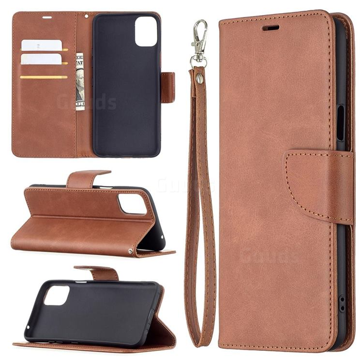 Classic Sheepskin PU Leather Phone Wallet Case for LG K42 - Brown