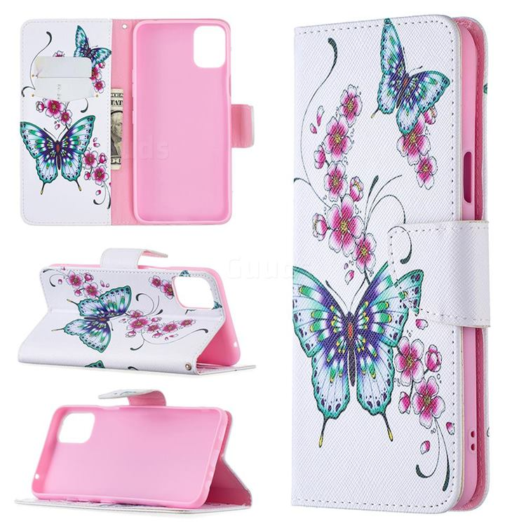 Peach Butterflies Leather Wallet Case for LG K42