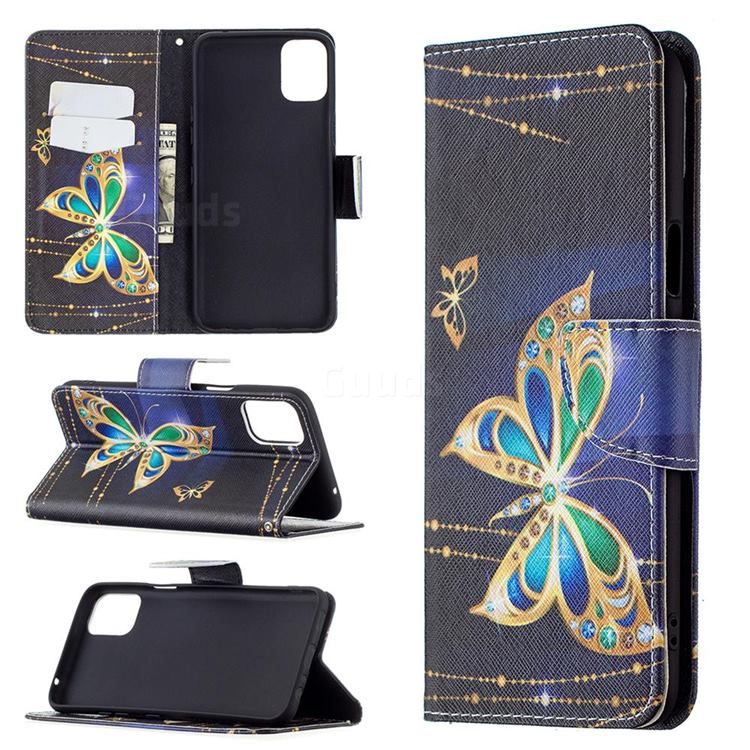 Golden Shining Butterfly Leather Wallet Case for LG K42