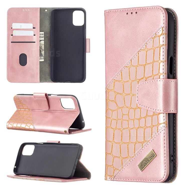 BinfenColor BF04 Color Block Stitching Crocodile Leather Case Cover for LG K42 - Rose Gold