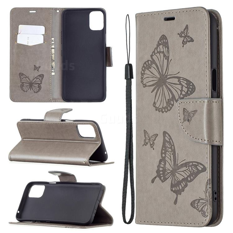 Embossing Double Butterfly Leather Wallet Case for LG K42 - Gray