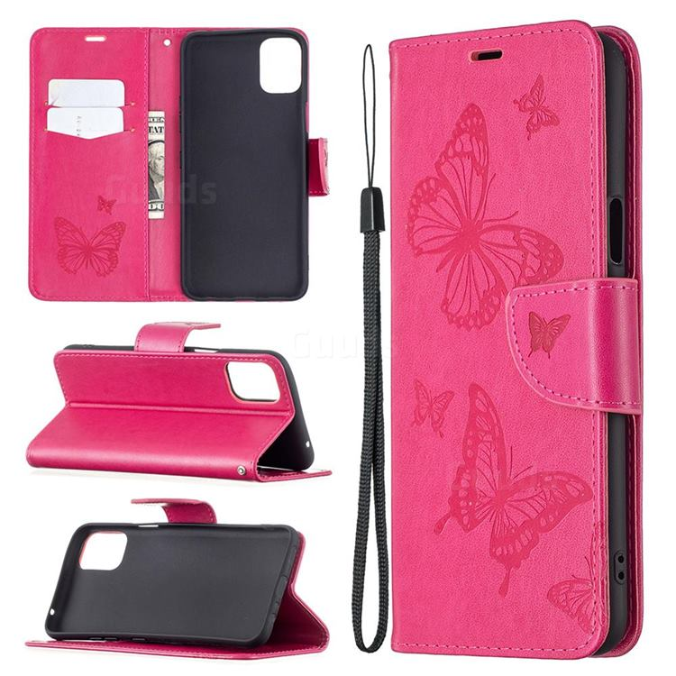 Embossing Double Butterfly Leather Wallet Case for LG K42 - Red