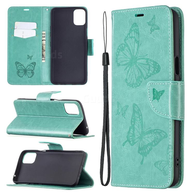 Embossing Double Butterfly Leather Wallet Case for LG K42 - Green