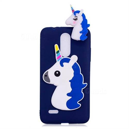 Unicorn Soft 3D Silicone Case for LG K4 (2017) M160 Phoenix3 Fortune - Dark  Blue
