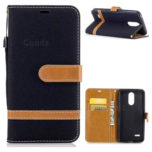 Jeans Cowboy Denim Leather Wallet Case for LG K4 (2017) M160 Phoenix3 Fortune - Black