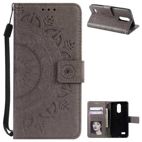 Intricate Embossing Datura Leather Wallet Case for LG K4 (2017) M160 Phoenix3 Fortune - Gray