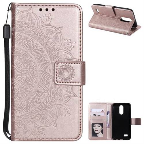 Intricate Embossing Datura Leather Wallet Case for LG K4 (2017) M160 Phoenix3 Fortune - Rose Gold