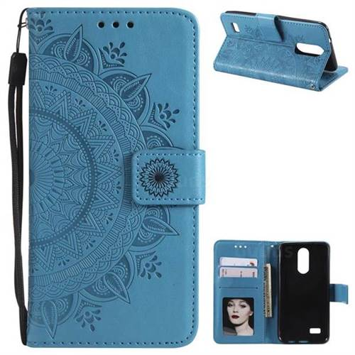 Intricate Embossing Datura Leather Wallet Case for LG K4 (2017) M160 Phoenix3 Fortune - Blue