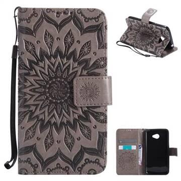 Embossing Sunflower Leather Wallet Case for LG K5 - Gray