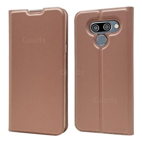 Ultra Slim Card Magnetic Automatic Suction Leather Wallet Case for LG K50 - Rose Gold