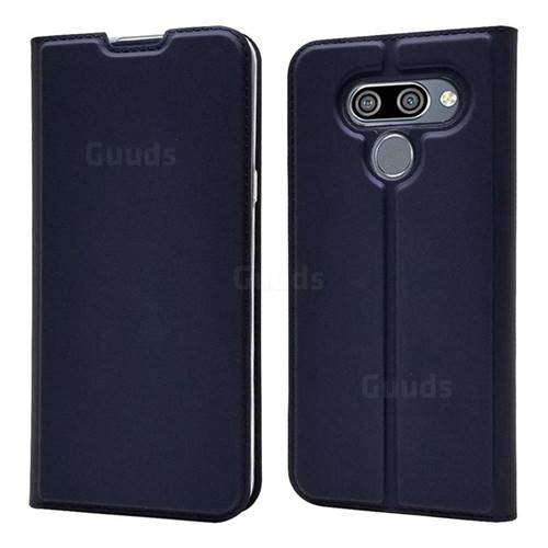 Ultra Slim Card Magnetic Automatic Suction Leather Wallet Case for LG K50 - Royal Blue