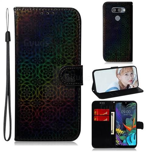 Laser Circle Shining Leather Wallet Phone Case for LG K50 - Black