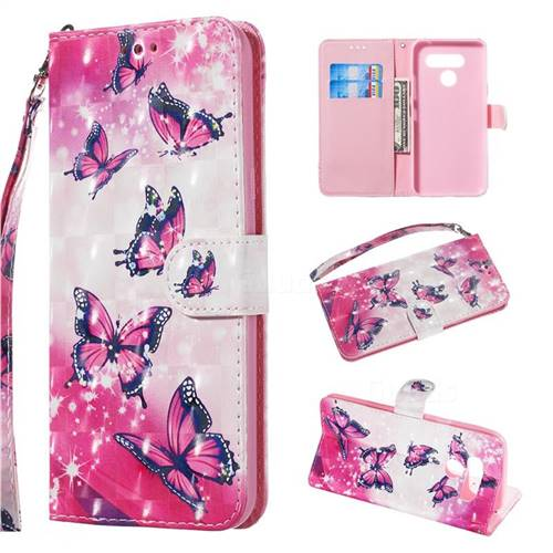 Pink Butterfly 3D Painted Leather Wallet Phone Case for LG K50