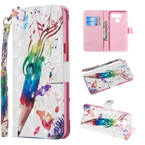 Music Pen 3D Painted Leather Wallet Phone Case for LG K50