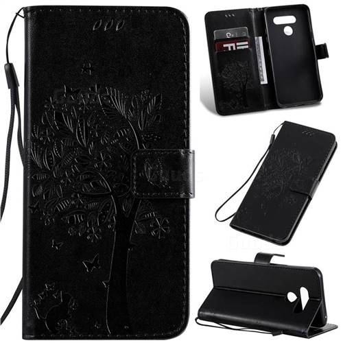 Embossing Butterfly Tree Leather Wallet Case for LG K50 - Black