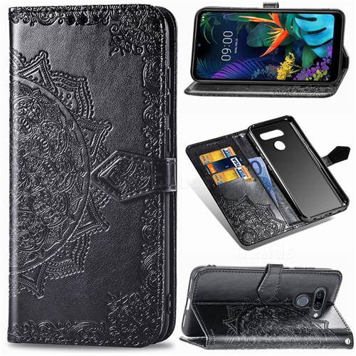 Embossing Imprint Mandala Flower Leather Wallet Case for LG K50 - Black