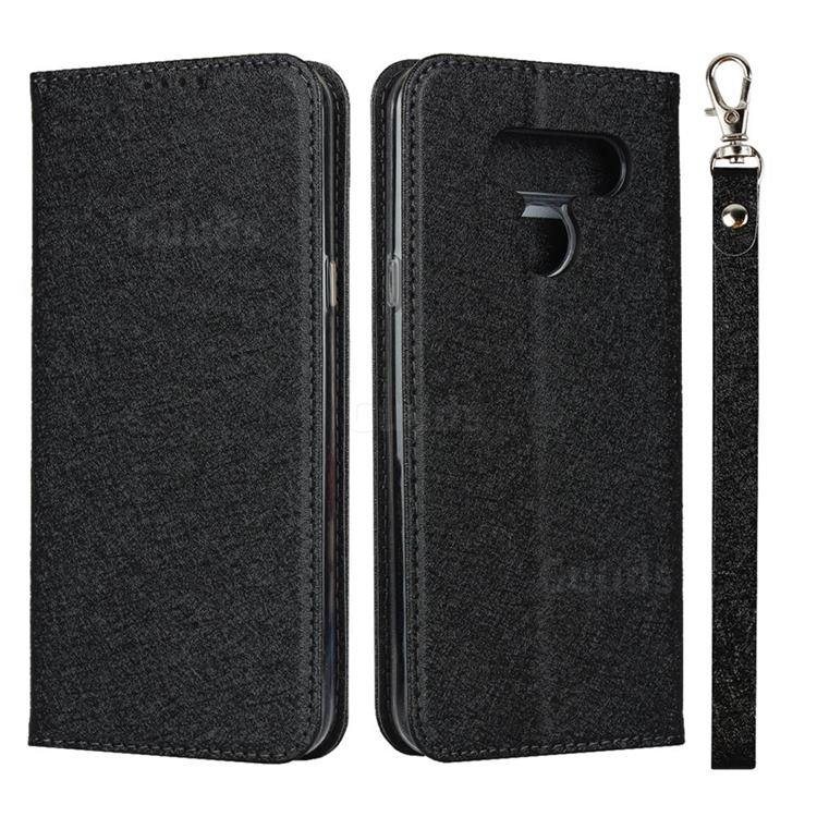Ultra Slim Magnetic Automatic Suction Silk Lanyard Leather Flip Cover for LG K50 - Black