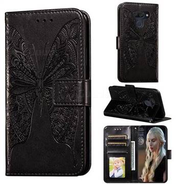 Intricate Embossing Vivid Butterfly Leather Wallet Case for LG K50 - Black