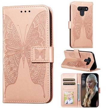 Intricate Embossing Vivid Butterfly Leather Wallet Case for LG K50 - Rose Gold