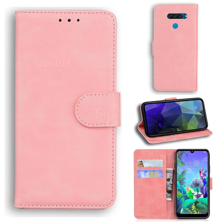Retro Classic Skin Feel Leather Wallet Phone Case for LG K50 - Pink
