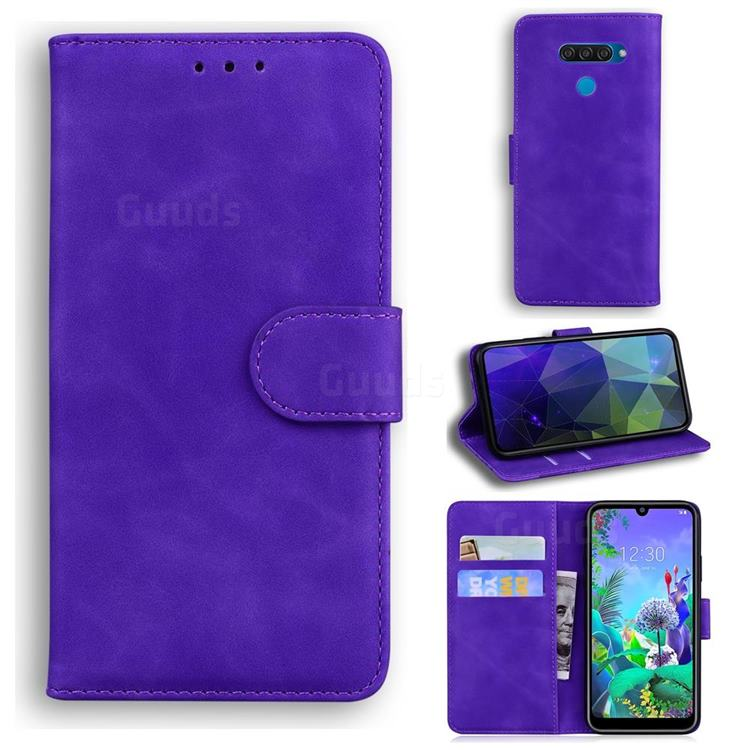 Retro Classic Skin Feel Leather Wallet Phone Case for LG K50 - Purple